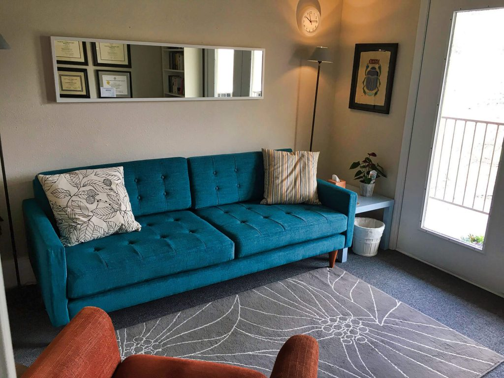therapist office with blue couch